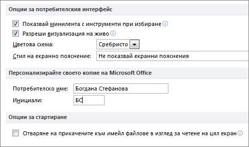 Общи опции на Word 2010 панел