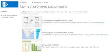 Началната страница на сайта на центъра за бизнес разузнаване в SharePoint Online