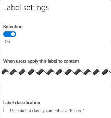Класифициране на съдържанието, като отметнете квадратчето запис