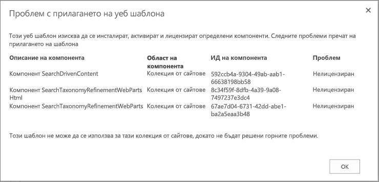 Екранна снимка на съобщение за грешка, показващо грешка, която може да получите, ако недостъпни функции не позволяват създаването на сайт в SharePoint Online.