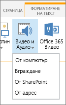 Вмъкване на видео или аудио бутон в лентата на редактиране
