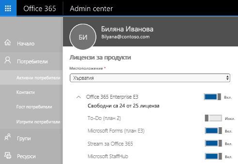 """Екранната снимка показва страницата """"Лицензи за продукти"""" на центъра за администриране на Office 365 с контролата за превключване – в положение """"Изкл."""" за """"To-Do"""" (план 2)."""