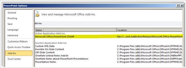 Опции за PowerPoint, екран ''Добавки'' с осветена добавка STAMP