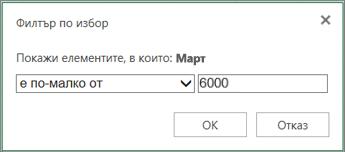 прилагане на потребителски филтър за показване на стойности, попадащи под определени критерии