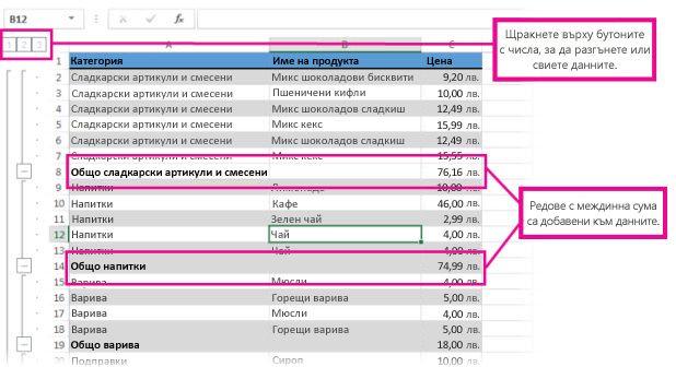 Данни с включени междинни суми
