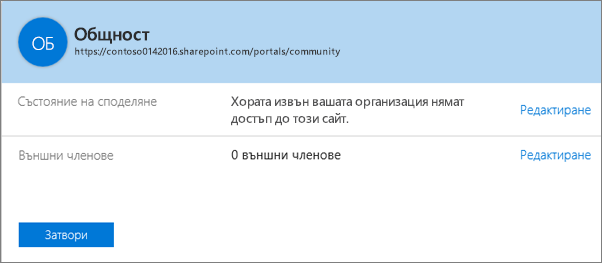Диалогов прозорец за състоянието на споделяне за конкретна колекция от сайтове, когато споделянето е изключено.