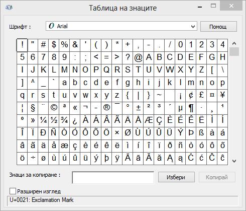 Програмата на знаците на Windows