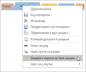 Екранна снимка за това как да се защити с парола секция в OneNote 2016.