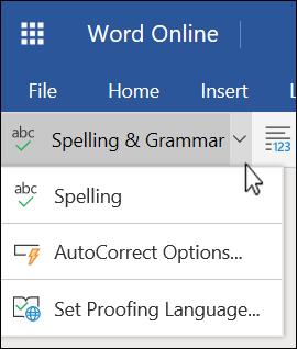 Списък с опции за проверка на правописа и граматиката, разгънат, в Word Online