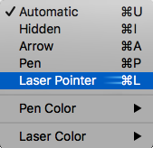 Изберете лазерна показалка от изскачащото меню