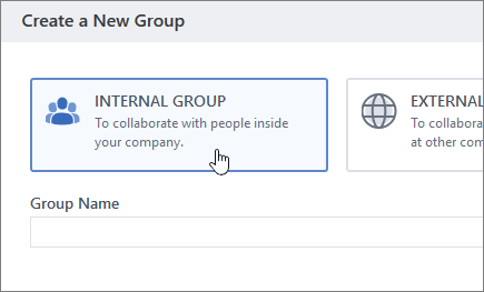 """Екранна снимка, показваща екрана """"създаване на група"""" в Yammer с избрана вътрешна група."""