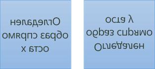 Пример за огледален текст: първото е завърта 180 градуса по оста x, а второто е завъртян на 180 градуса по оста y