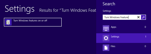 On the Start Screen type turn on windows features, clickSettings, and then click Turn Windows features on or off. (The screen shot for this step follows.)