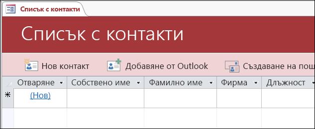 """Формуляр """"Списък с контакти"""" в шаблона за база данни """"Контакти"""" на Access"""