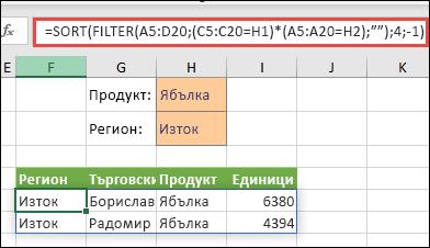 """Използване на FILTER с функцията SORT, за да се върнат всички стойности в диапазона на нашия масив (A5:D20), които имат """"Ябълки"""" И са в източния регион, и след това да се сортират мерните единици в низходящ ред."""