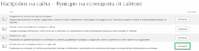 Активиране на функцията за публикуване на колекции между сайтове