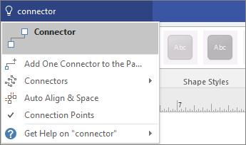 """Екранна снимка на инструмента """"Кажете ми какво искате да направите"""", показващ резултати за """"Свързване""""."""