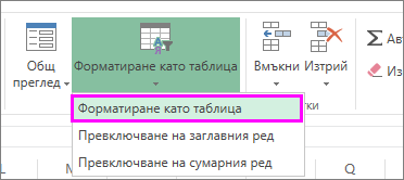 Бутон за форматиране на данни като таблица