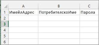 Заглавия на клетките във файла за мигриране на Excel.