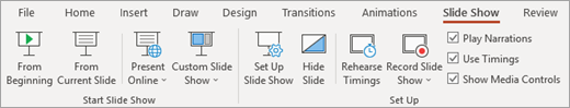 Разделът ' ' слайдшоу ' ' в PowerPoint