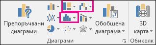 Икона за вмъкване на йерархична, каскадна, борсова или статистическа диаграми в Excel 2016 за Windows