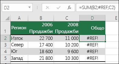 Пример за грешката #REF!, предизвикана от изтриване на колона