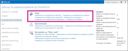 Екранна снимка на центъра за администриране на SharePoint Online, когато е избрана страницата за потребителски профили.