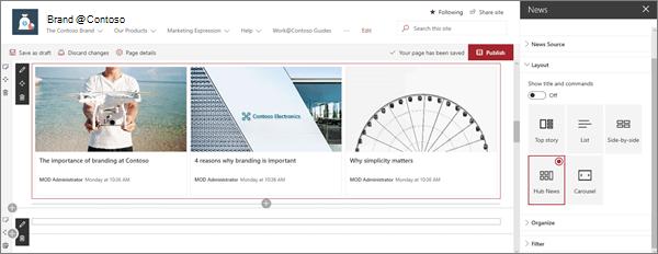 Уеб част за новини в Примерен сайт за модерни марки в SharePoint online