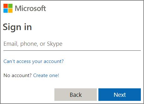 Екранна снимка при влизане в Microsoft