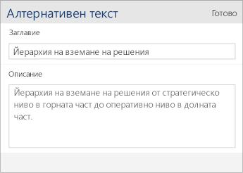 """Екранна снимка на диалоговия прозорец за алтернативен текст в Word Mobile, съдържащ полета """"Заглавие"""" и """"Описание""""."""