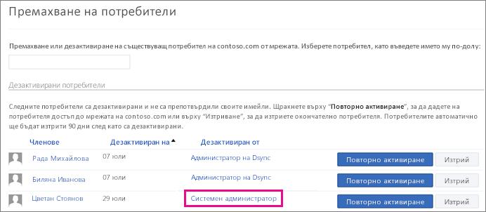 Екранна снимка, показваща потребител, който е премахнат от системния администратор.