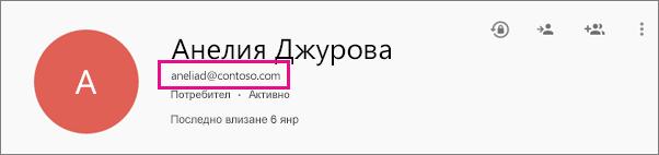 Подробности за потребител в центъра за администриране на приложенията на Google
