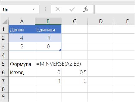 Пример 1 – MINVERSE