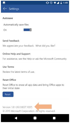 Намиране на версията на приложението на Office в телефони с Android
