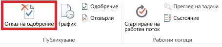 Лента, показваща бутона ''Отказ на одобрение''