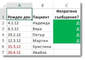 Примерно условно форматиране в Excel