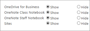 Списък на OneDrive за бизнеса, Бележникът на класа на OneNote, бележника на служителя на OneNote и сайтовете с бутони за показване или скриване.