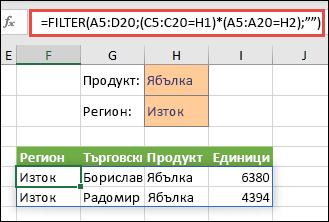 """Използване на FILTER с оператора за умножение (*), за да се върнат всички стойности в диапазона на нашия масив (A5:D20), които имат """"Ябълки"""" И са в източния регион."""
