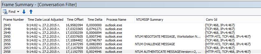 Проследяване на Netmon, показващо удостоверяване на прокси сървър, филтрирано по разговор.