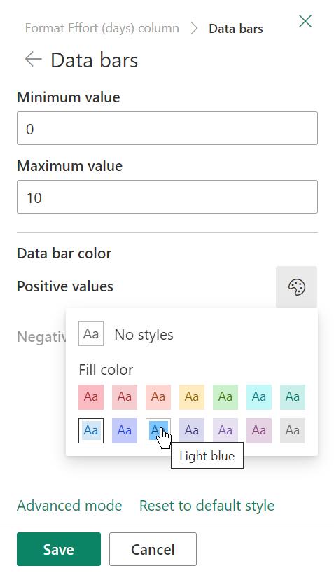 Опции за форматиране на ленти за данни в колона SharePoint списък.