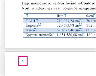 На страницата е осветен знак за празен абзац след таблица
