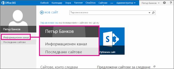 Екранна снимка на страницата ''Сайтове'' с осветена връзка към Newsfeed