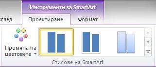 """Групата """"Стилове на SmartArt"""" в раздела """"Проектиране"""" под """"Инструменти за SmartArt"""""""