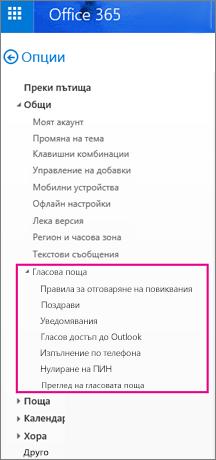 Опции за гласова поща в прозореца за опции на имейл на Outlook