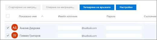 Всички ваши потребители са изброени с предварително попълнен имейл