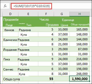 Формула за масив за единична клетка, за да се изчисли общата сума с = SUM (F10: F19 * G10: G19)