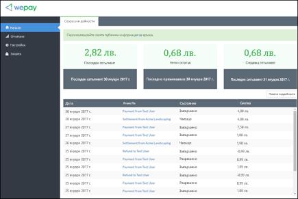 Заснемане на екрана: показва WePay акаунт за управление на началната страница