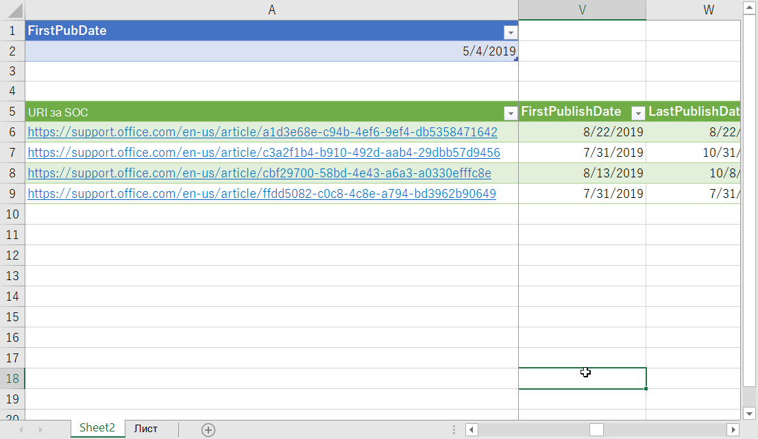 Филтрирани данни в Excel