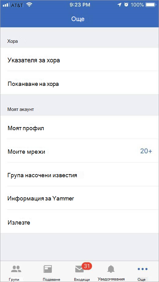 iOS Yammer страница, която показва повече опции