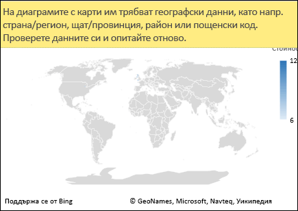 Диаграма с карта на Excel с нееднозначни данни
